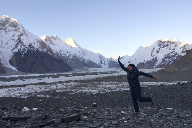 Kerry jumping for joy on trek to Khan Tengi Base Camp