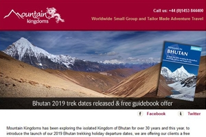 August e-newsletter - Bhutan 2019 trek dates and free guidebook offer