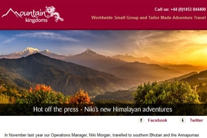 Read our April e-newsletter - Niki's new Himalayan adventures